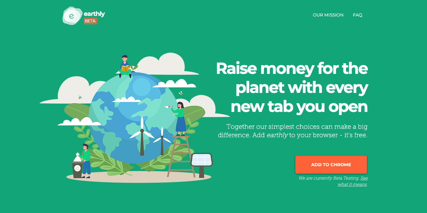 Landing Page for Earthly