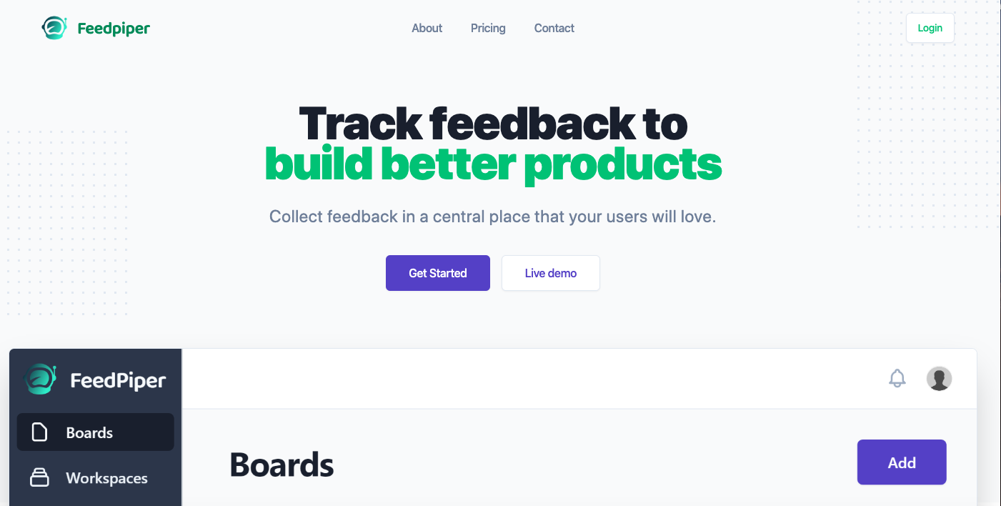 landing page for Feedpiper