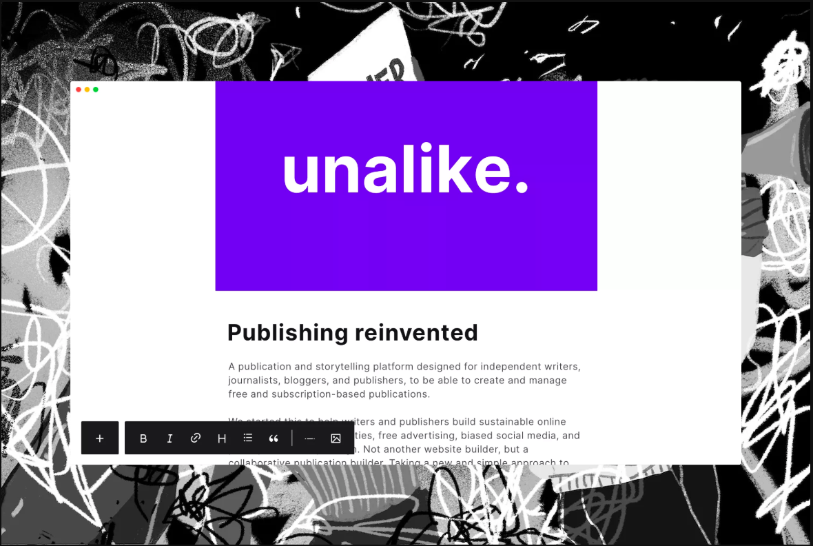 Landing page for unalike