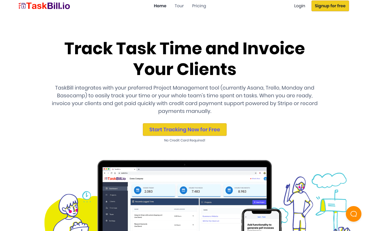 Taskbill landing page