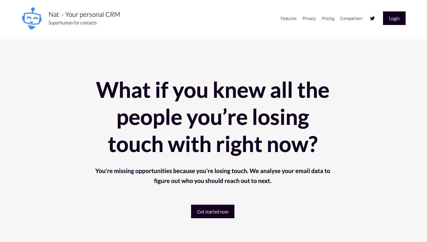 landing page for nat