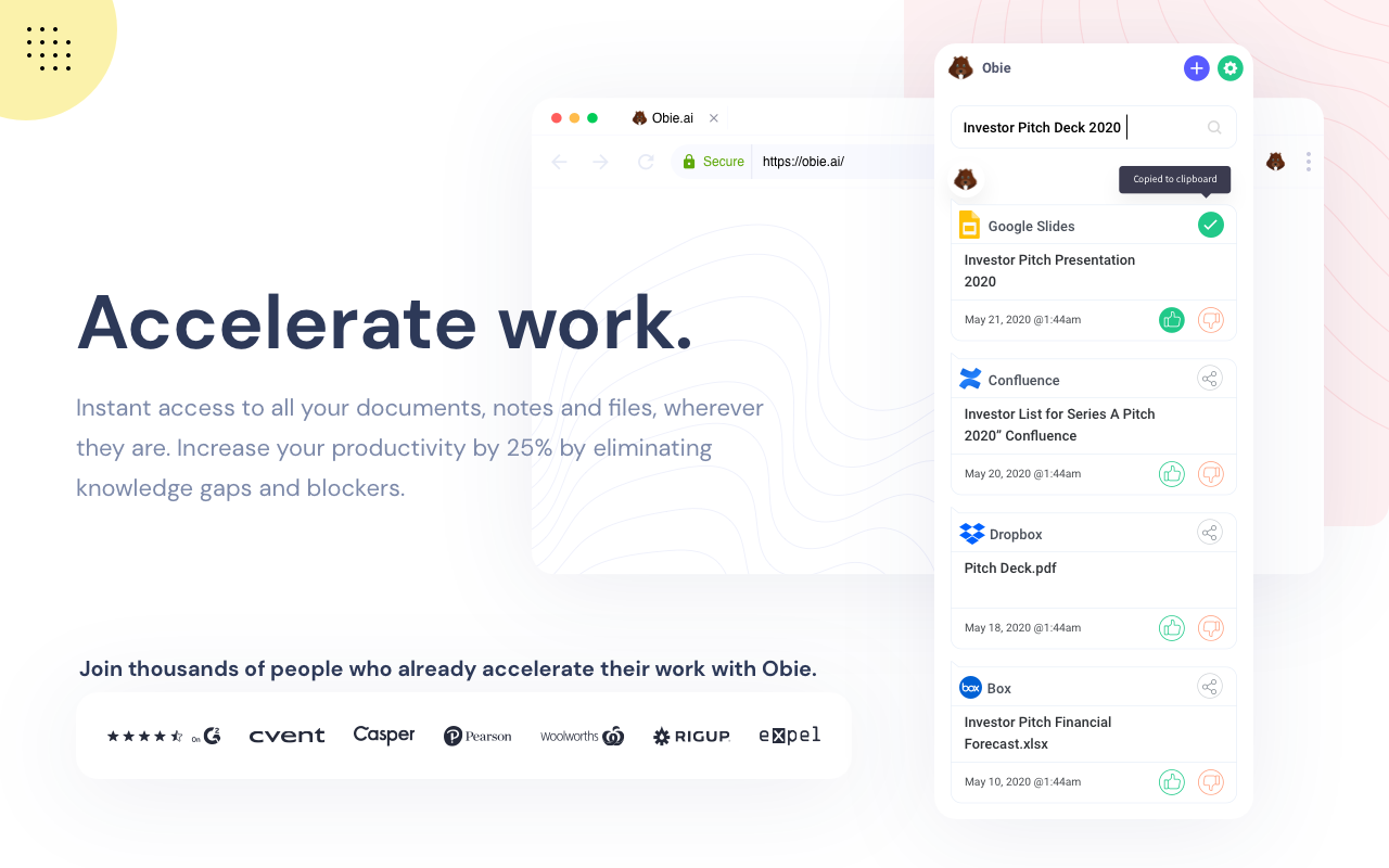 Landing page for Obie