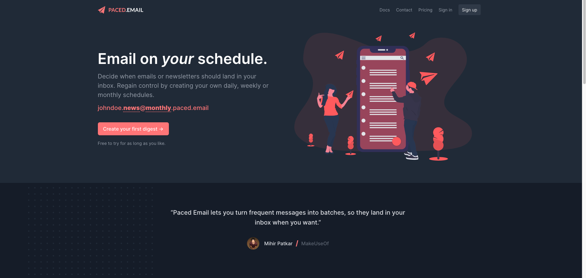 landing Page for Paced Email