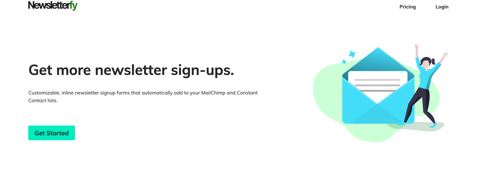 Landing page for Newsletterfy