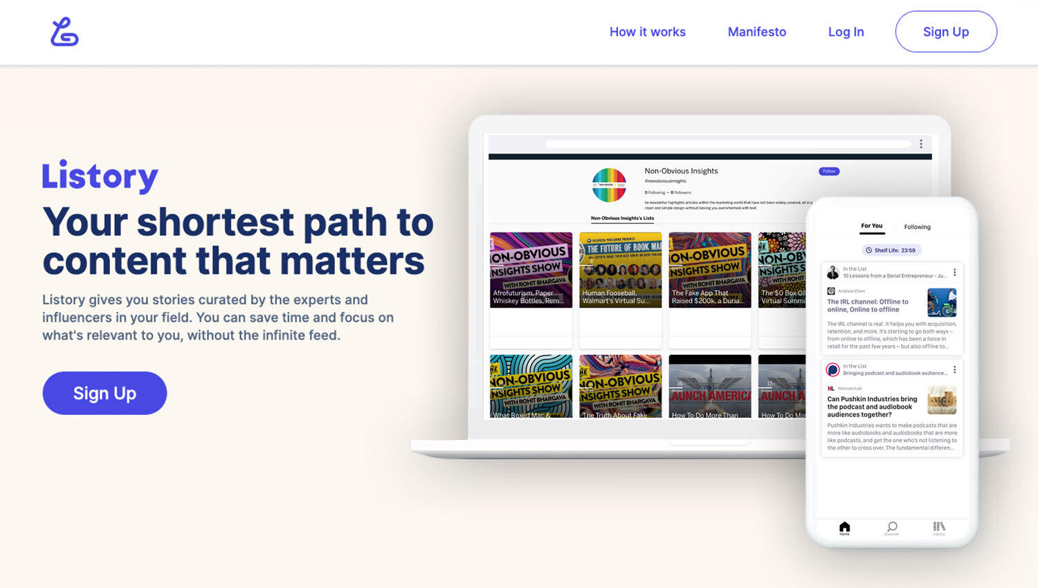 landing page for Listory